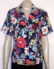 NWT Alfred Dunner Short Sleeve Button Front Blouse Top Floral Navy Multi 8 10 12