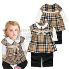 Girl Baby Infant Toddler Plaids Romper Bowknot Top Dress Jumpsuit Outfit Clothes
