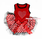 Valentine Hot Red Sparkle Heart Red Sleeveless Minnie Skirt Pet Dog Dress Outfit