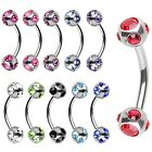 New Surgical Steel Eyebrow Cartilage Nipple Curve Barbell with Multi Gem Balls