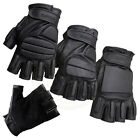 LEATHER FINGERLESS PADDED GLOVES BIKERS TACTICAL SECURITY SPECIAL OPPS & POLICE