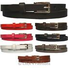 "Mens Ladies Unisex Real Leather Belts Skinny Narrow Fashion Sizes 28""- 52"" Waist"
