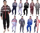 Mens All In One Piece Jumpsuit Fleece Aztec Camo USA Flag Hoodie
