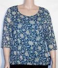 NWT J H Collectibles Pullover 3/4 Sleeve Lined Sheer Top Aqua Floral 2X 3X