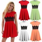 Women's Skater Flare Cap Sleeve Contrast Lace Ladies Bodycon Mini Party Dress