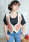 ♥COOL BOHO Vintage Cream Cotton RED Embroidery Stitch AZTEC Waistcoat FESTIVAL
