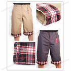 Mens Fashion Casual Slim Checked Plaid Pockets Summer Trousers Short Pants 4Size