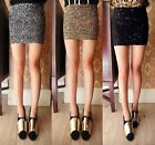 Women Ladies Panel Look Ribbed Short Mini Bodycon Glitter Party Skirt SIze 8-10