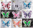 New Hot 20/50pcs Silver Plated Enamel Rhinestone Crystal Butterfly Charms