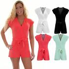 Women's V Neck Wrap Front Turn Up Sleeves Ladies Party Smart Shorts Playsuit