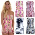 Women's Summer Stripe Printed Boobtube  Denim Hot Pants Shorts Bodycon Playsuit