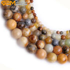 Natural Round Multi-Color Hua Show Jade Stone Loose Beads For Jewelry Making 15""