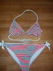 NEW TEENAGER GIRLS M&S RED WHITE BIKINI TOP AND BOTTOMS SIZE SMALL LARGE