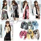 Womens Flower Cotton Ladies Begonia Soft Scarves Long Wraps Shawl Winter Scarf