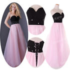 Black&Pink Luxury GK 2014 Sexy Floor Length Party Prom Evening Strapless Dress