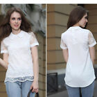 Women New Fashion Vintage Hollow Out Organza Lace Tops Shirt Fit Blouse UK