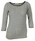 Big Star Women's White and Black Striped Shirt with 3/4 Sleeves