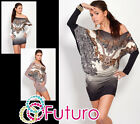 ♥ High Quality One Shoulder Dress ♥ Batwing Long Sleeve Tunic Sizes 8 - 12 FC65