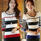 Women Striped Knited Sweater Long Sleeve Pullover Casual Tops Jumper SZ S M L XL
