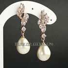 B1-E816 Fashion 1.6'' Pearl Dangle Earrings 18KGP use Swarovski Crystal