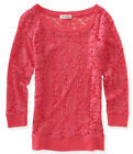 NEW Aeropostale Womens Aero 3/4 Sleeve Lace Woven Crew Tee Shirt Top Sz L XL XXL