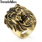 X'mas GIFT Men Boy Carved Roaring Lion King Ring Black Gold 316L Stainless Steel