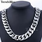 24mm Silver Tone Curb Cuban Mens Chain 316L Stainless Steel Necklace(HEAVY)