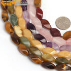 "Natural Stone Multi Genstone Beads For Jewelry Making 15"" Twist Oval 8x16mm"