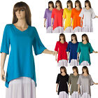 Tunic Women Top Plus Size Long Shirt Short Sleeve Asymmetric 16 18 20 22 24 26