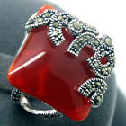 Retro Women's Marcasite Square Ruby 925 Sterling Silver Ring Size 7/8/9/10