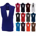 Women's Sleeveless Stretch Gathered Cowl Neck Ladies Long Plus Size Top 16-26
