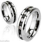 MENS WOMENS STAINLESS STEEL SILVER ETERNITY WEDDING BAND RING CLEAR BLACK CZ