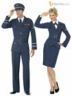 Mens Ladies WW2 Airforce Captain Fancy Dress War 1940s Uniform Military Costume