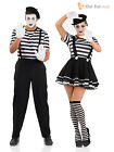 Mens Ladies Mime Artist Costume Black White Street Circus French Carnival Outfit