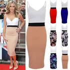 Women's Celeb Amanda Panel Contrast Strappy Ladies Midi Pencil Bodycon Dress