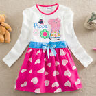NTW Kids Girls Peppa Pig Long Sleeve Heart Tutu Dress Costume Clothes SIZE2-6Y