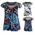 Women's Chiffon Floral Mesh Lined Black White Flower Printed Ladies T-Shirt Top