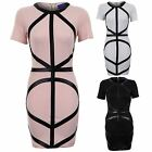 Women's Diagonal Straps PVC White Black Peach Ladies Short Bodycon Dress