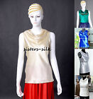 Women's Ladies 100% Pure Silk Charmeuse Tank Top Blouse T Shirts Tees AF069