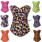 Flowers Series Sexy Jeans Denim Basques Lace Up Boned Corset TOP Costume Parties