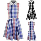 Women's Peter Pan Collar Chequered Sleeveless Ladies Party Flare Belted Dress