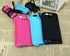 Fashion Black HOT Pink Blue Neck PU Leather Case For Apple iPhone 5 5S
