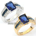 A1-R170 Simulated Sapphire Fashion Ring 18KGP use Swarovski Crystal Size 5.5-10