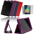 Luxury Leather Case Stand Cover for Asus Google Nexus 7 Tablet Black Purple Blue