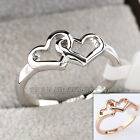 B1-R645 Fashion Band Ring 18KGP Double Hearts