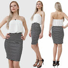 Blouson strapless knee-length dress lined chiffon top striped skirt Multi S,M,L