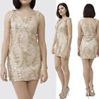Lined tan floral lace shift dress above knee mini random gold sequence S, M, L