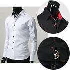 New Stylish Men Fashion Formal Casual Button Lapel Long Sleeve Dress Shirt Tops