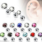 SEXY SURGICAL STEEL CARTILAGE BARBELL WITH FLAT TOP DISC GEM CZ BODY JEWELRY