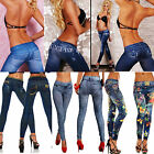 Hot Sexy Womens Leggings/Jeggings Fashion Tattoo Jean Trousers Fit Size 6-12